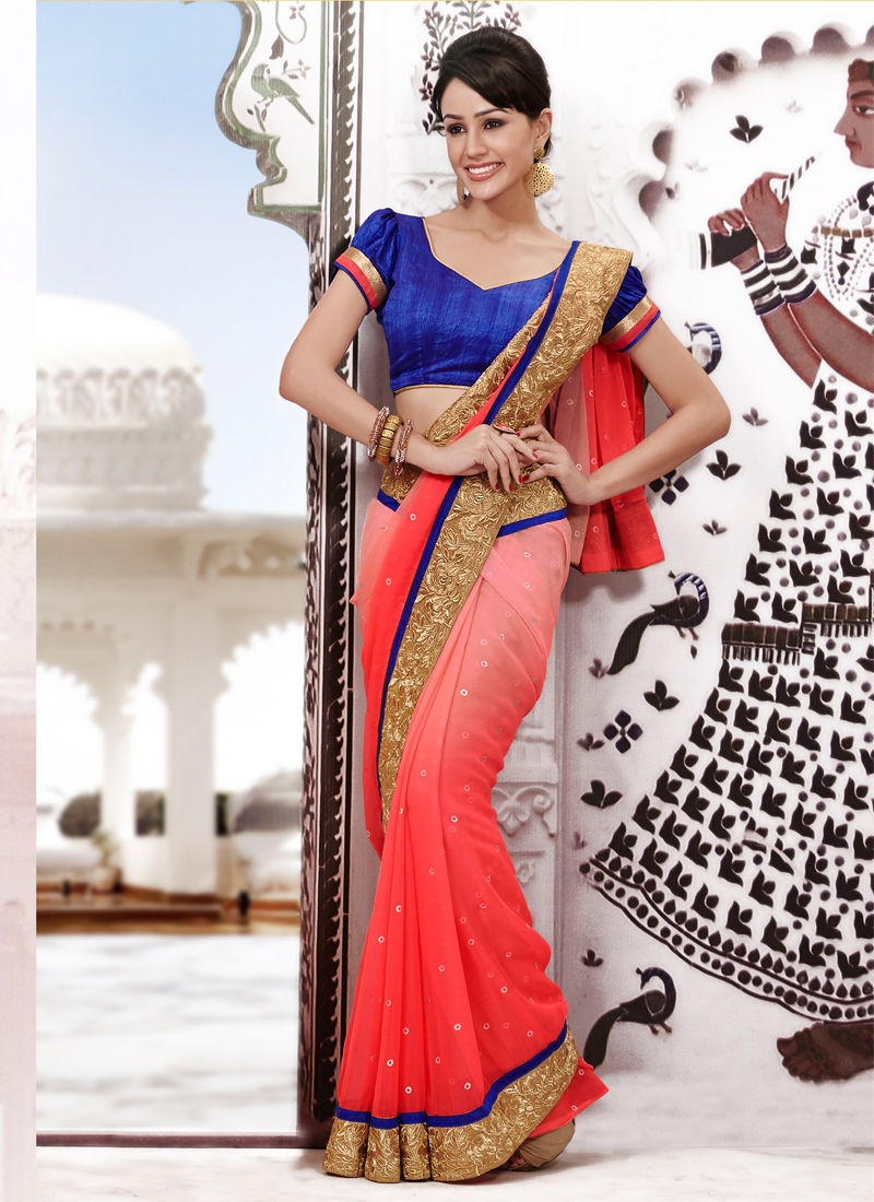 Luscious Stone And Lace Work Party Wear Saree