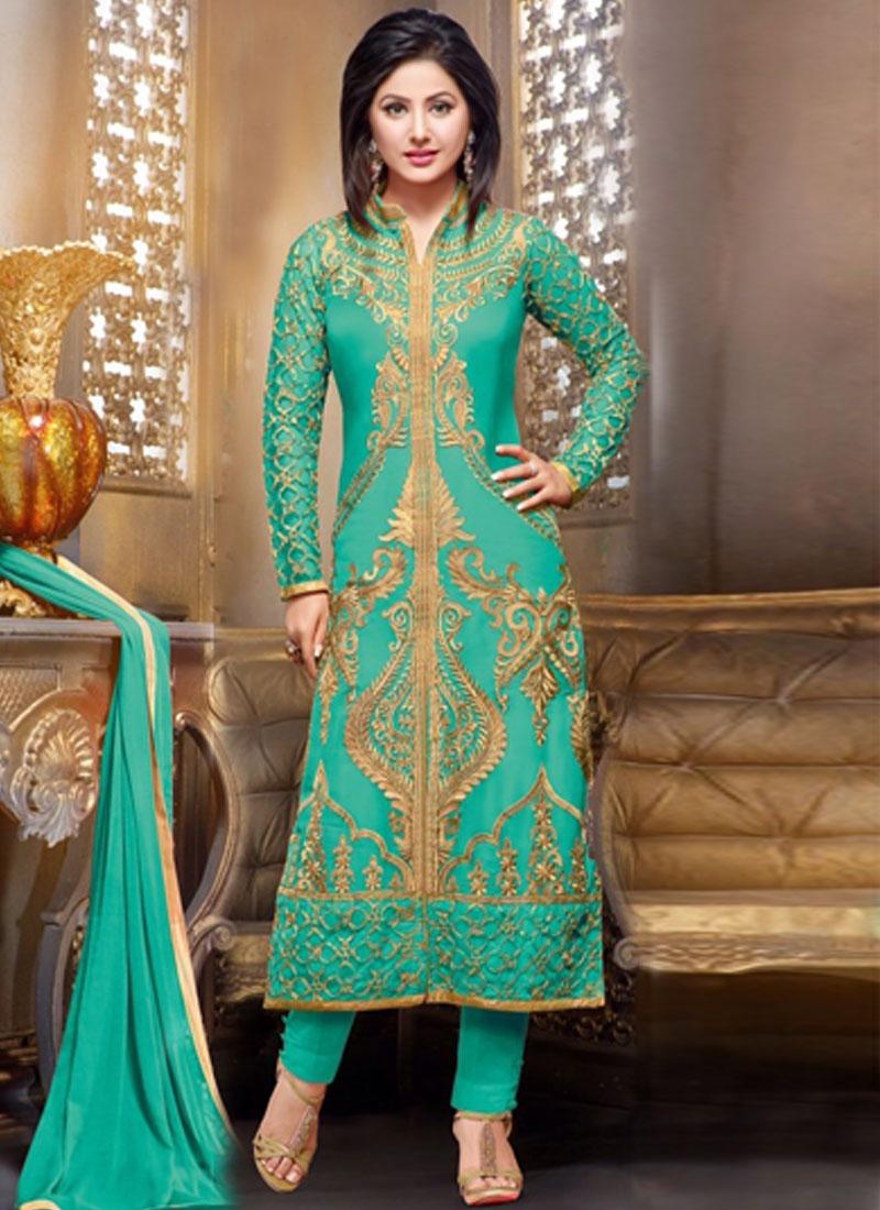855ec86f89 Lustre Aqua Blue Color Hina Khan Designer Suit