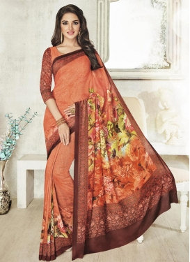 Lustre Art Silk Digital Print Work Contemporary Style Saree For Ceremonial