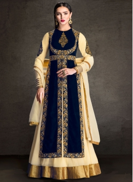 Lustre Beads Work Cream Floor Length Designer Salwar Suit