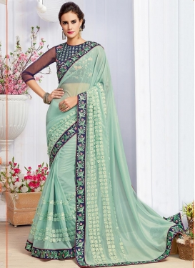 Lustre  Beads Work Trendy Classic Saree