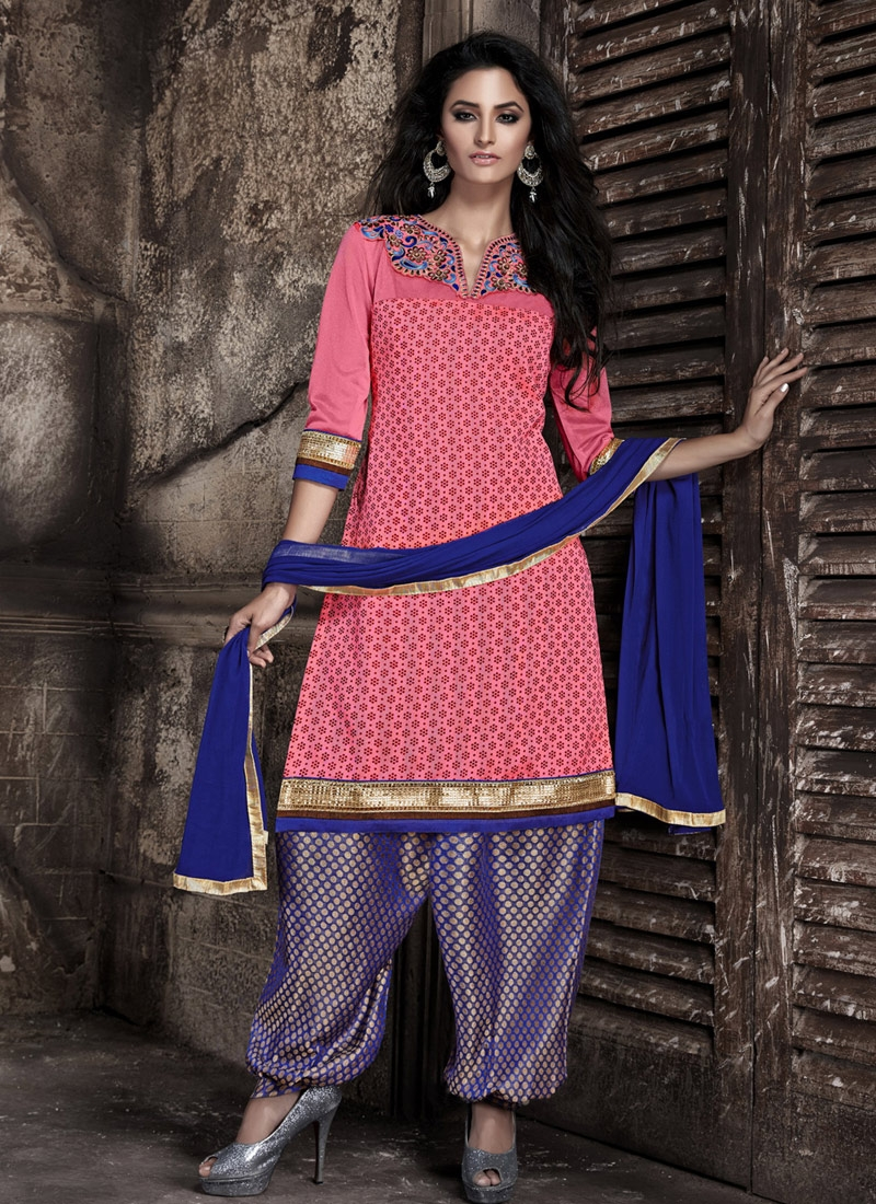 Lustre Bhagalpuri Silk Lace Work Patiala Style Punjabi Suit