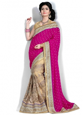 Lustre Booti And Lace Work Half N Half Wedding Saree