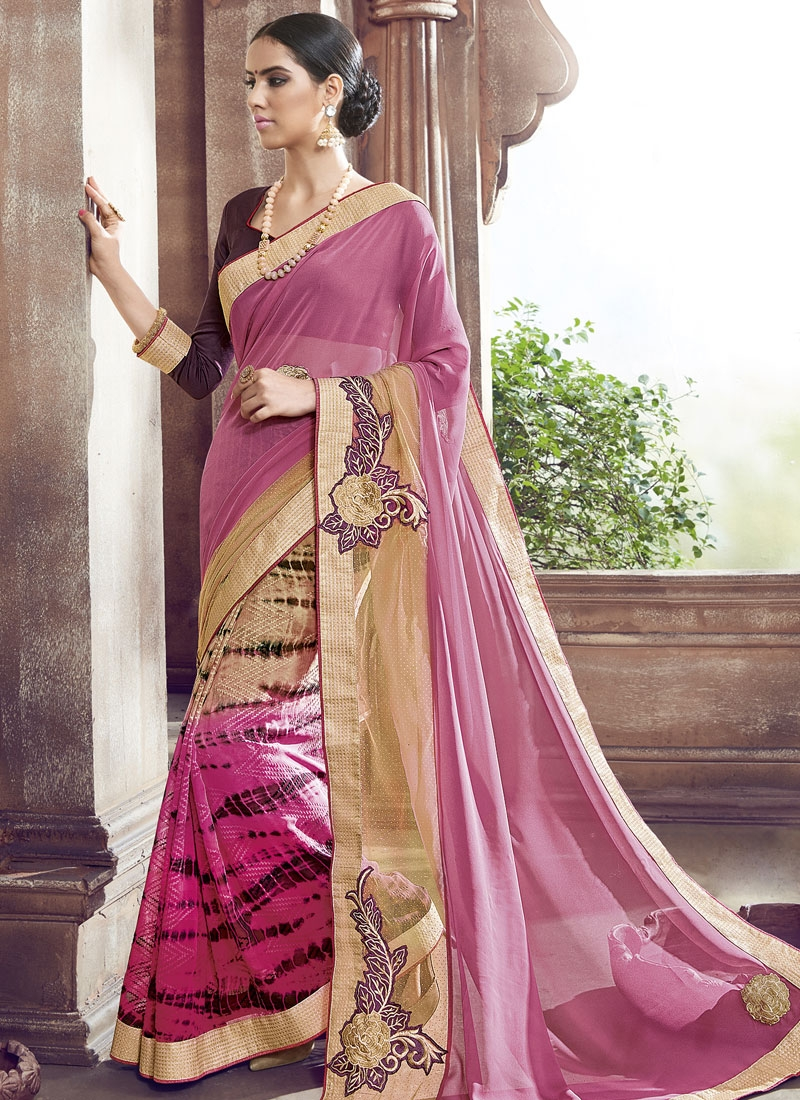 Lustre Booti And Lace Work Party Wear Saree