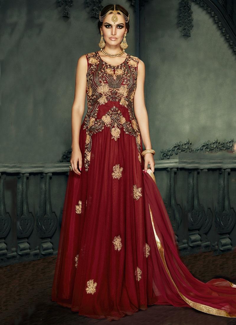 Lustre Booti Work Floor Length Designer Salwar Kameez