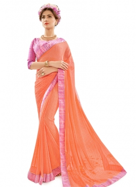 Lustre  Coral and Hot Pink Lace Work Contemporary Saree