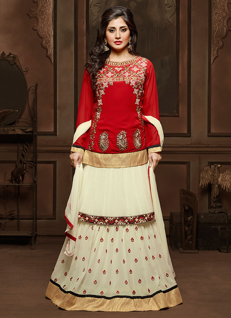 Lustre Cream And Red Color Kameez Style Designer Lehenga Choli