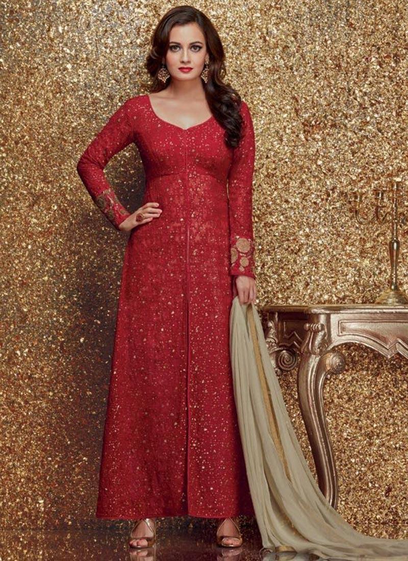 94210785e1 Lustre Dia Mirza Embroidered Work Pakistani Salwar Suit