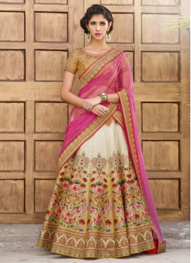 Lustre Digital Print Work Beige and Hot Pink  Trendy Lehenga