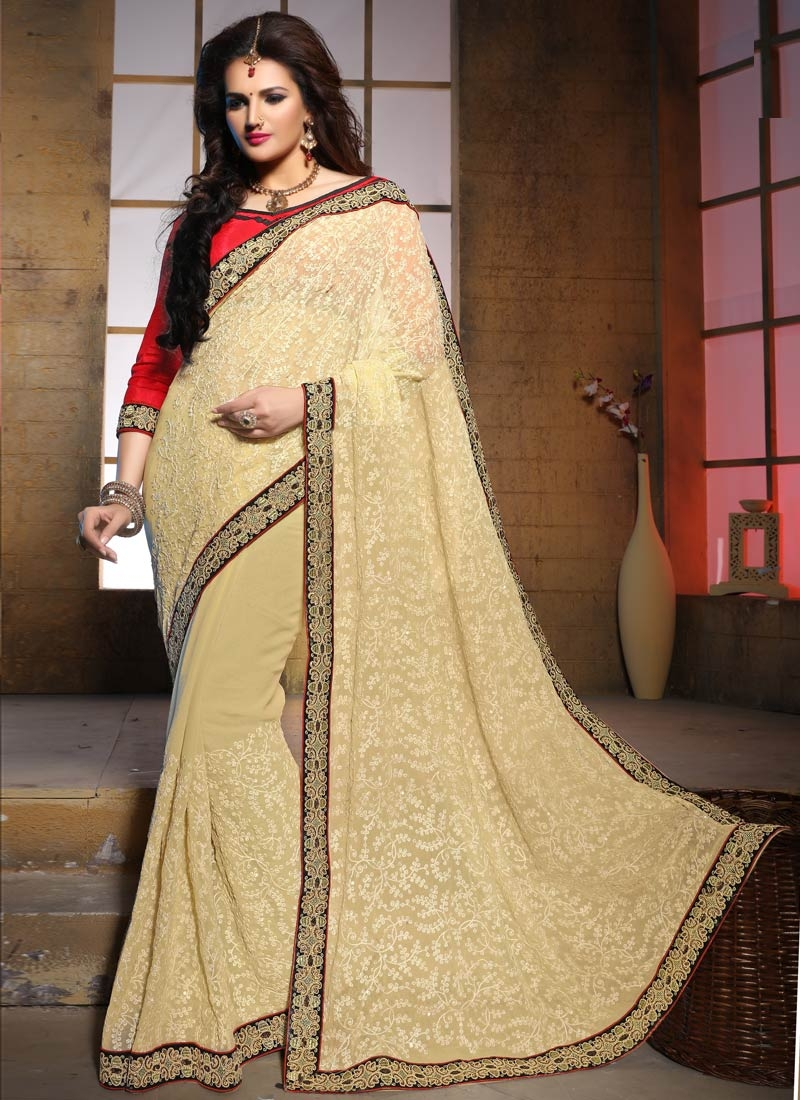 Lustre Embroidery Work Cream Color Wedding Saree