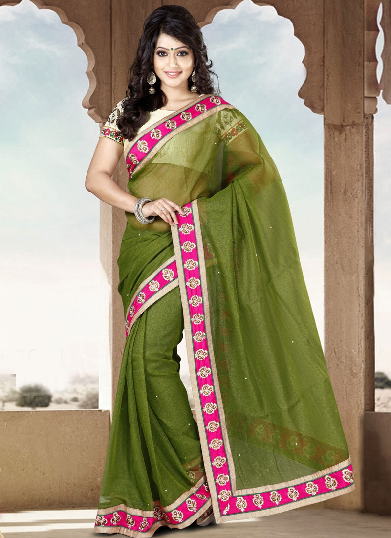 Lustre Olive Color Casual Saree