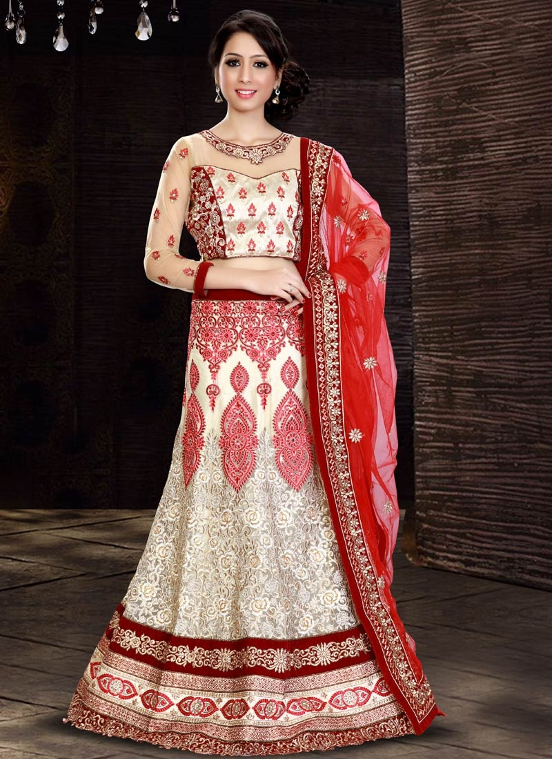 Lustre Patch Border And Booti Work Bridal Lehenga Choli