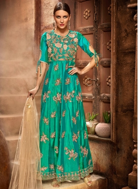 Lustre Satin Silk Sea Green Long Length Designer Suit For Ceremonial