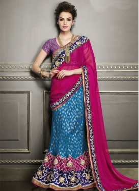 Lustre Velvet Patch Border Work Lehenga Saree