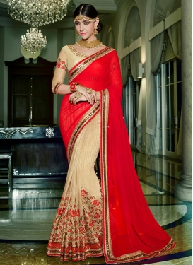 Lustrous Beads Work Beige and Red Fancy Fabric Half N Half Trendy Saree For Festival