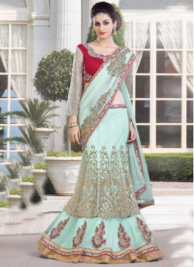 Lustrous Beads Work  Designer Lehenga Saree For Ceremonial