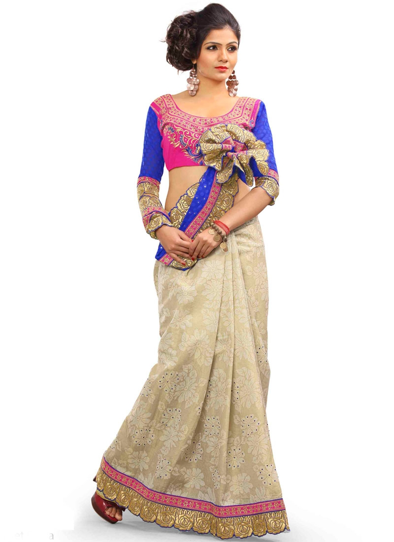 Lustrous Beige And Blue Color Half N Half Party Wear Saree