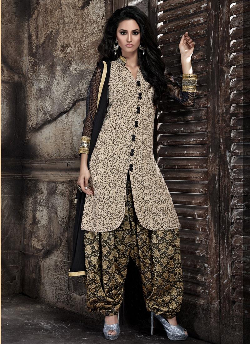 Lustrous Bhagalpuri Silk Patiala Style Punjabi Suit