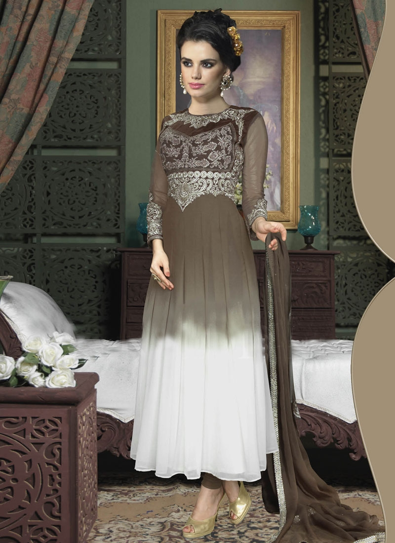 Lustrous Booti And Resham Work Long Length Anarkali Suit