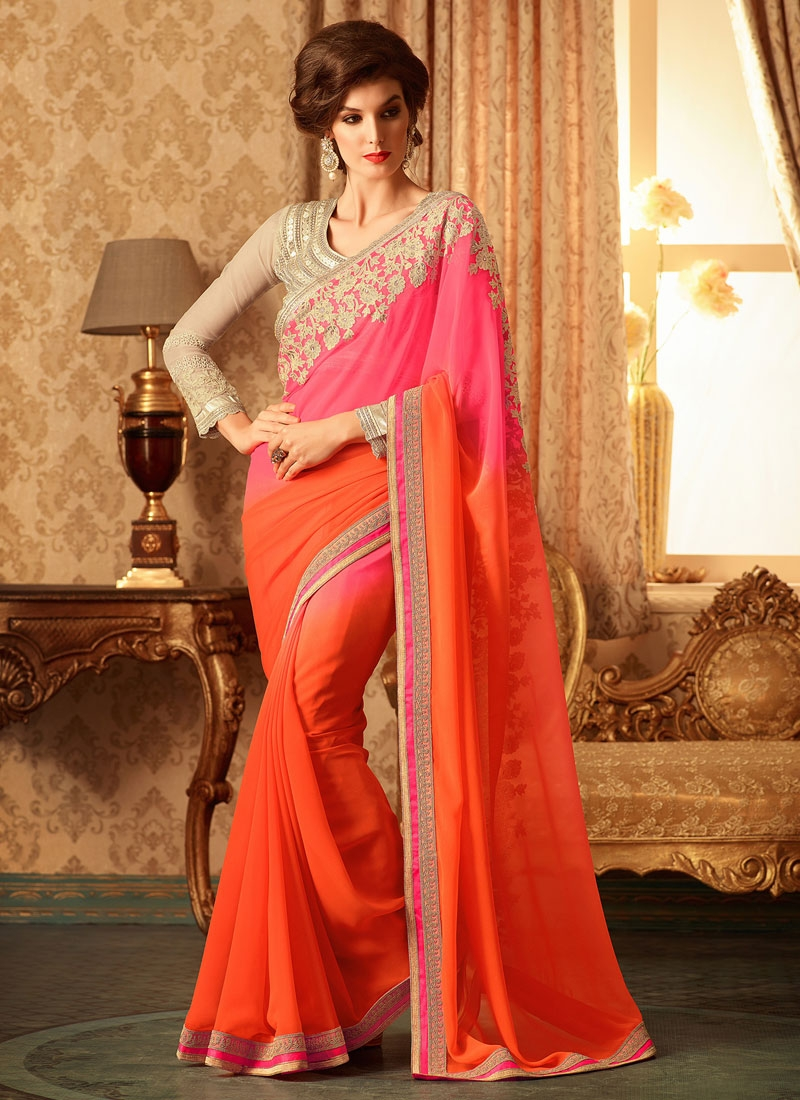 Lustrous Coral And Hot Pink Color Designer Saree