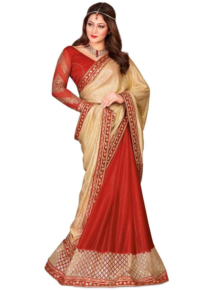 Lustrous Crush Sequins Work Half N Half Designer Saree