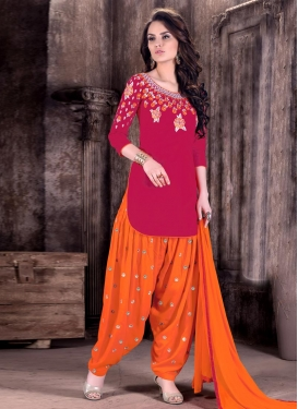 Lustrous Embroidered Work Cotton  Semi Patiala Salwar Kameez For Ceremonial