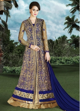 Lustrous Embroidered Work  Kameez Style Lehenga