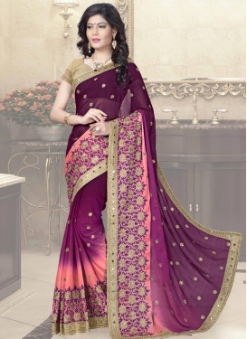 Lustrous Embroidered Work Silk Purple and Salmon Traditional Saree For Festival