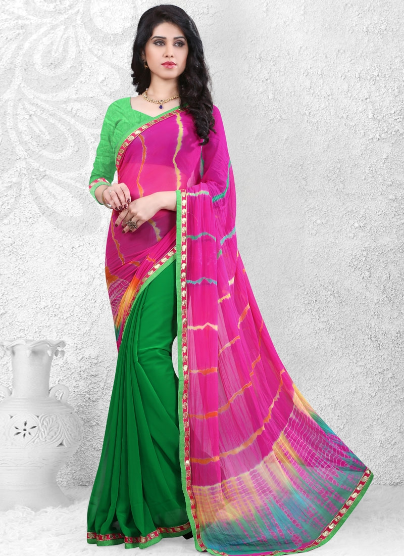 Lustrous Faux Georgette And Faux Chiffon Half N Half Casual Saree