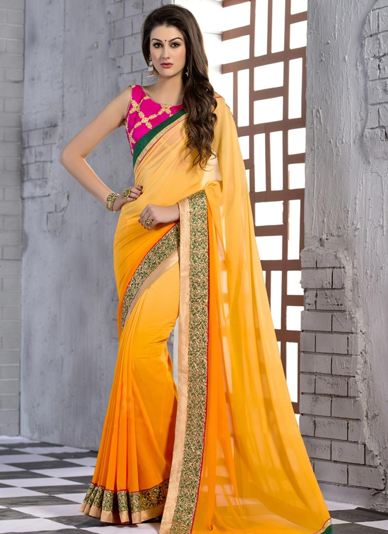 Lustrous Lace Work Mustard Color Party Wear Saree