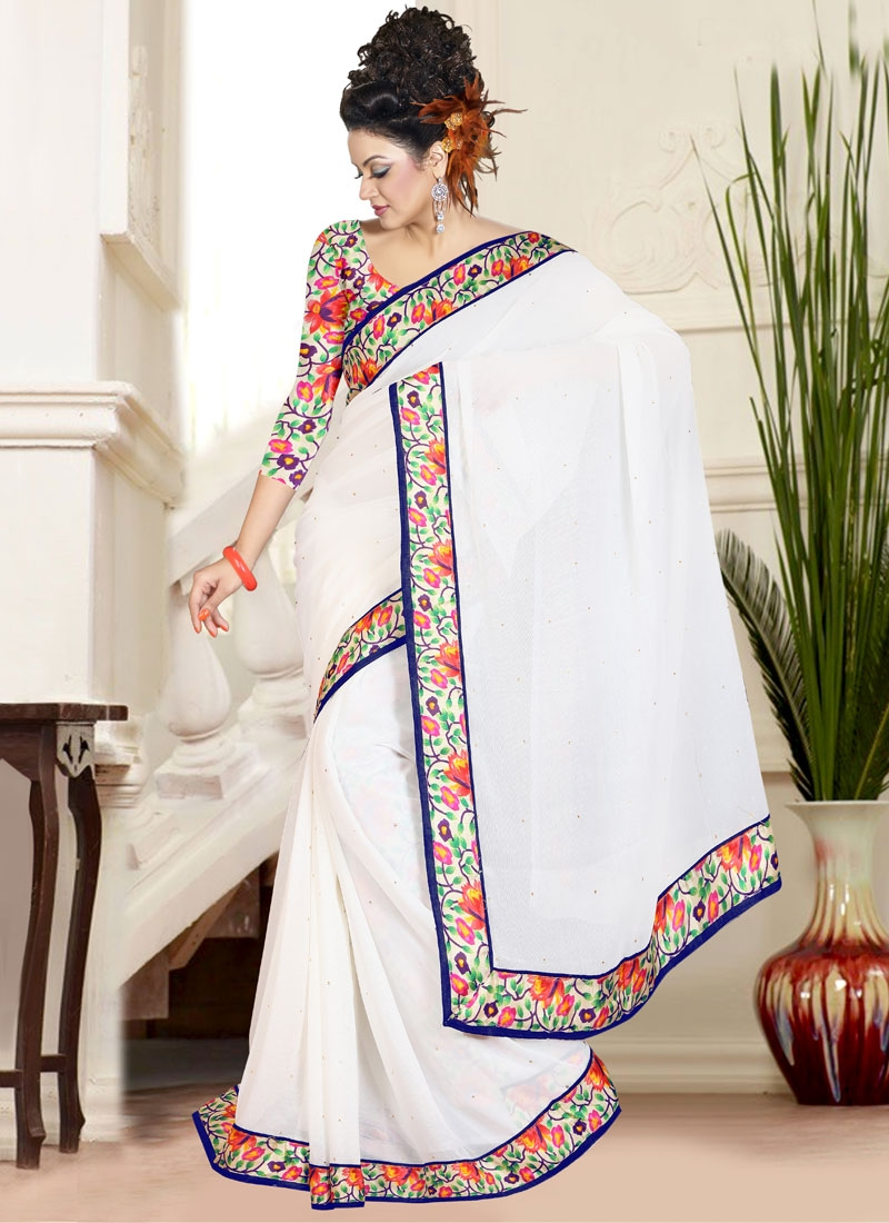 Lustrous Lace Work Off White Color Casual Saree