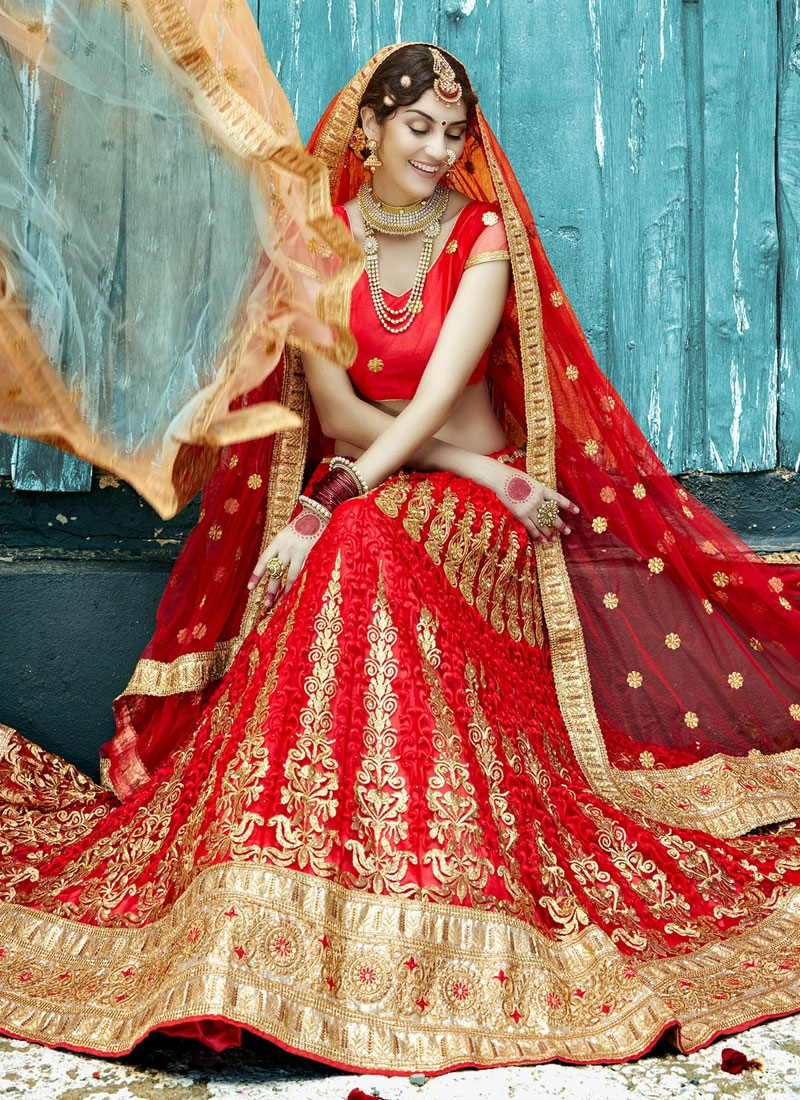 Lustrous Patch Border And Booti Work Bridal Lehenga Choli