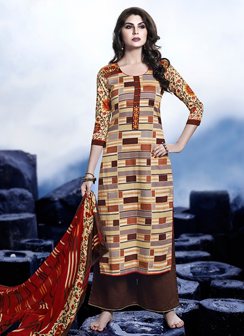Lustrous Printed Palazzo Style Pakistani Salwar Suit