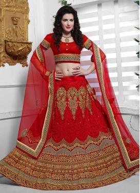 Lustrous Red Color Net Bridal Lehenga Choli