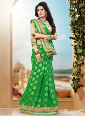 Lustrous Resham Work Viscose Designer Saree
