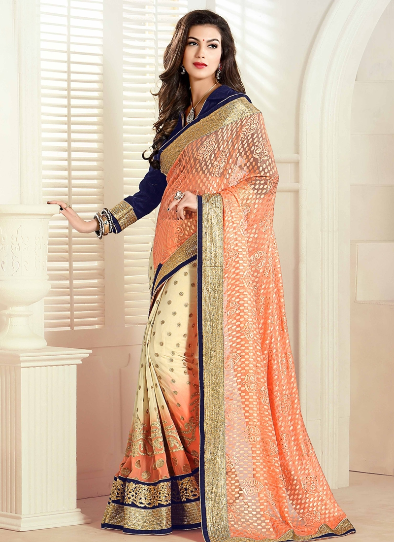 Lustrous Velvet Patch Border Work Half N Half Designer Saree