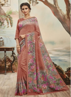 Luxurious Art Silk Digital Print Work Trendy Saree For Casual
