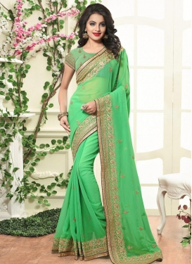 Luxurious  Bamberg Georgette Embroidered Work Trendy Saree