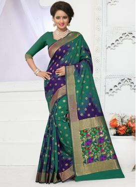 Luxurious  Banarasi Silk Resham Work Green and Navy Blue Trendy Classic Saree