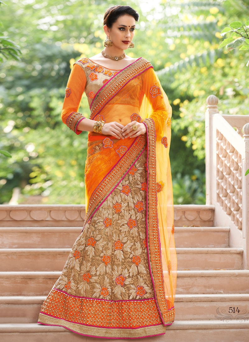 Luxurious Beads Work Beige Color Lehenga Saree