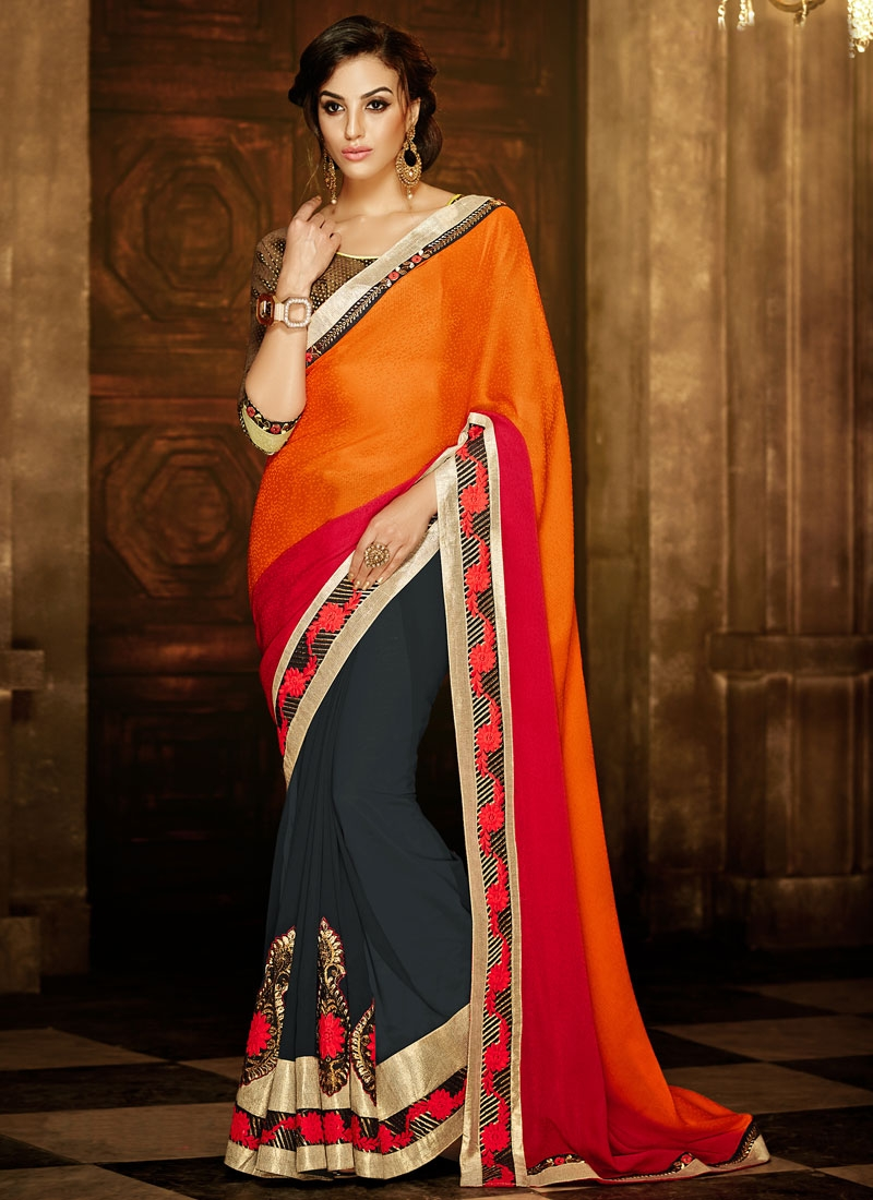 Luxurious Booti Work Coral Color Half N Half Party Wear Saree
