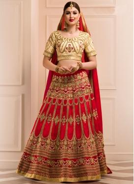 Luxurious Booti Work Cream and Red Trendy Designer Lehenga Choli