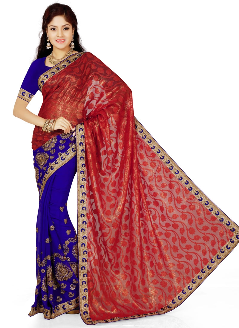 Luxurious Brasso Half N Half Party Wear Saree