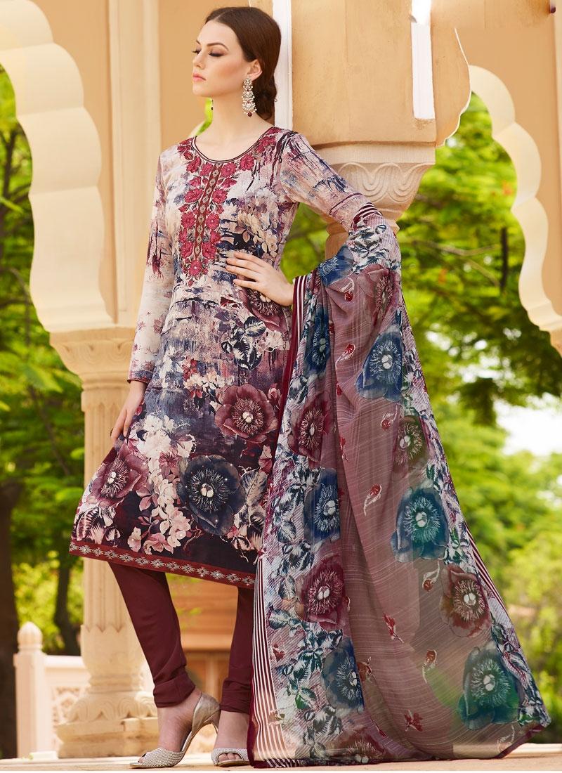 Luxurious Digital Print And Stone Work Churidar Salwar Suit