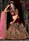 Luxurious Embroidered Work Velvet Trendy A Line Lehenga Choli