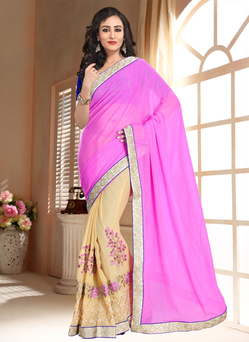 Luxurious Embroidery Work Half N Half Party Wear Saree