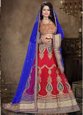 Luxurious Embroidery Work Net Bridal Lehenga Choli