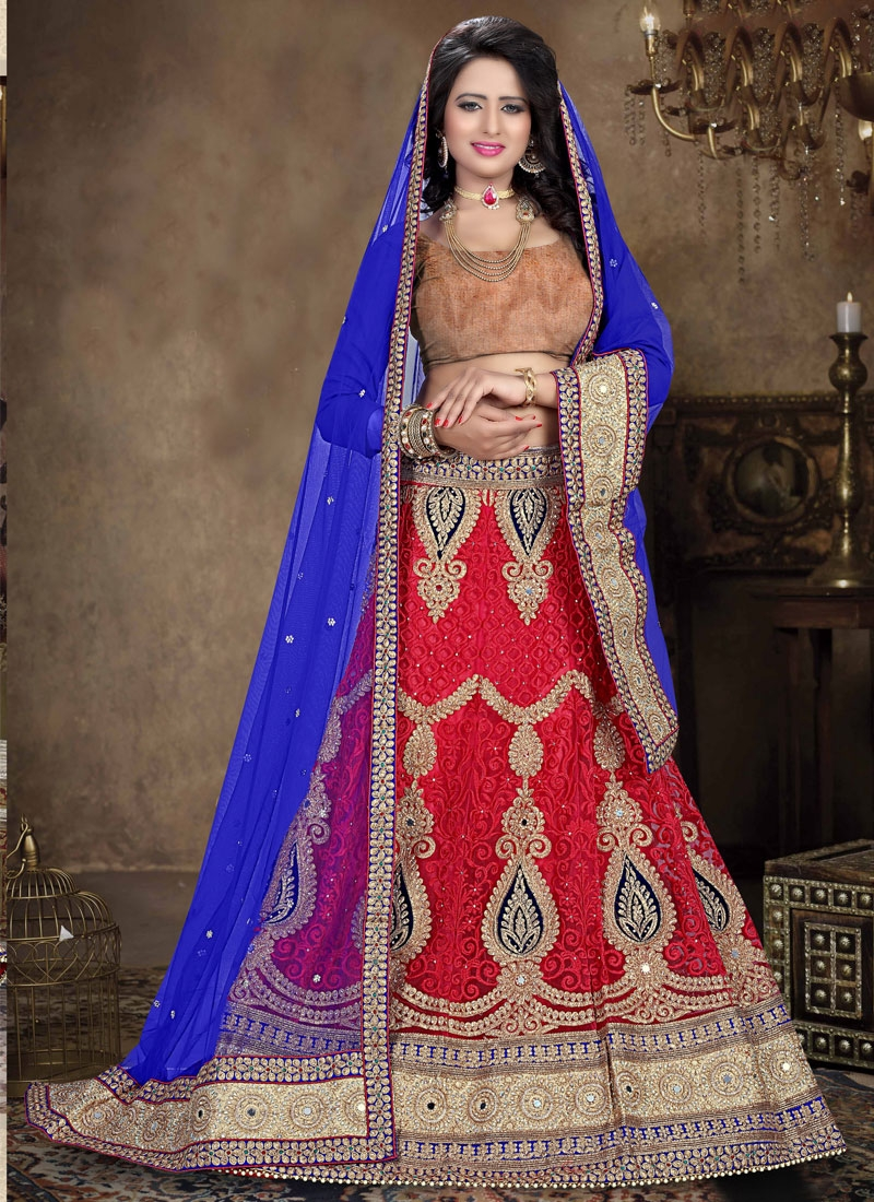 Luxurious Embroidery Work Net Bridal Lehenga Choli