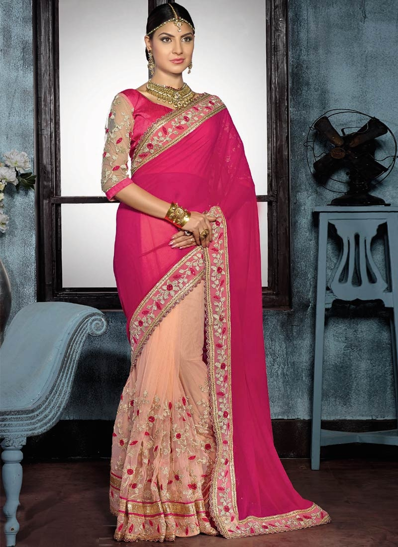 Luxurious Faux Georgette And Net Half N Half Designer Saree