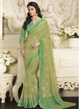Luxurious Faux Georgette Print Work Contemporary Style Saree For Ceremonial